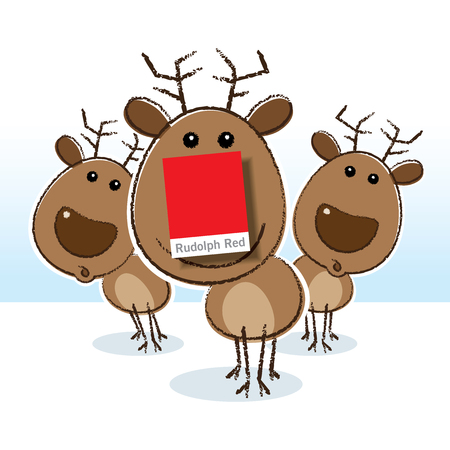 red nosed: Illustration of Rudolph the Red Nosed Reindeer with Paper Colour Swatch for Nose Stock Photo