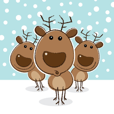Illustration of Reindeer with surprised look in front of herd illustration