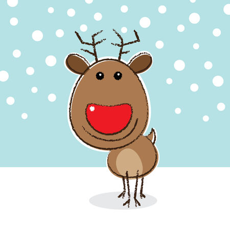 red nosed: Illustration of Red Nosed Reindeer Smiling on a Snowy Background