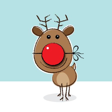 Illustration of Red Nosed Reindeer wearing a Clown s Nose illustration
