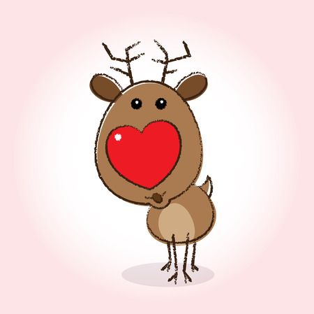 blowing nose: Illustration of Rudolph the Reindeer with Heart Shaped Red Nose blowing a kiss