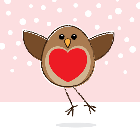 Illustration of Flying Robin with Red Heart shape on Breast illustration