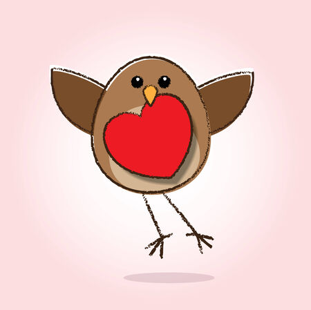 Illustration of Robin Read Breast Flying and Holding a Heart Icon in Beak illustration