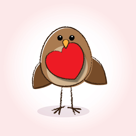 Illustration of Robin holding Red Heart Icon in Beak illustration