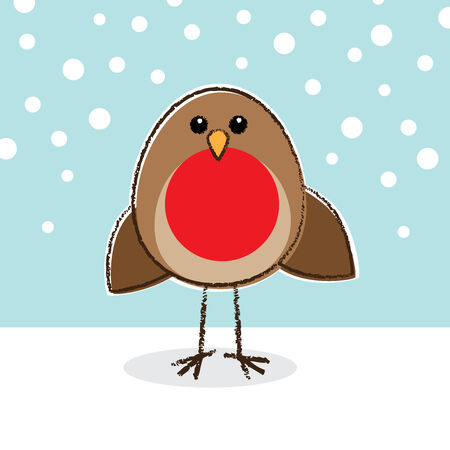 Illustration of Robin Red Breast in Snow and Blue Sky illustration