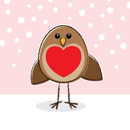 Illustration of Robin with Large Red Heart on Chest illustration