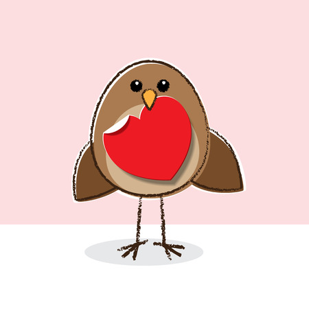 Illustration of Robin Red Breast holding Paper Heart in Beak illustration