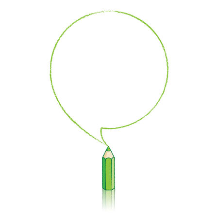 Green Pencil with Reflection Drawing Round Speech Bubble on White Background Vector