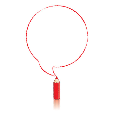Red Pencil with Reflection Drawing Round Speech Bubble on White Background Vector