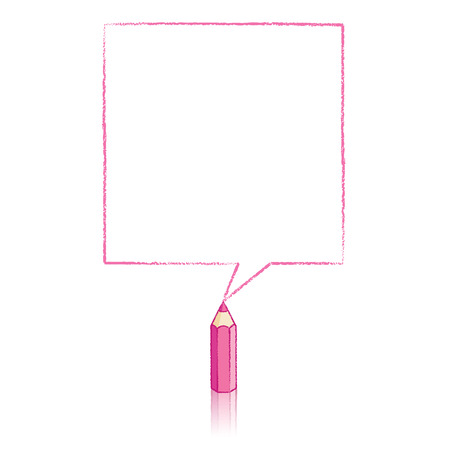 Pink Pencil with Reflection Drawing Square Speech Bubble on White Background Vector