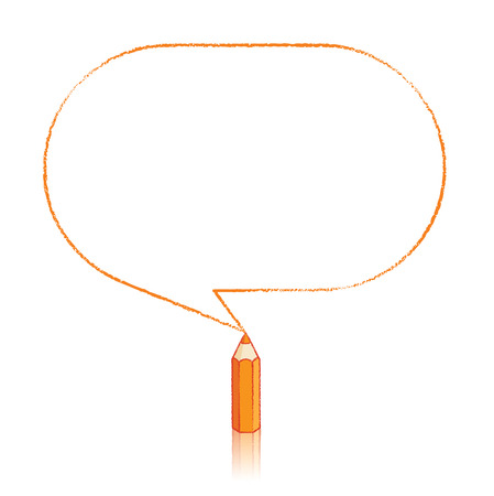 oblong: Orange Pencil with Reflection Drawing Oblong Speech Bubble on White Background Illustration
