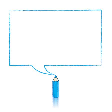 Blauw potlood met Bezinning Drawing rechthoekige tekstballon op witte achtergrond