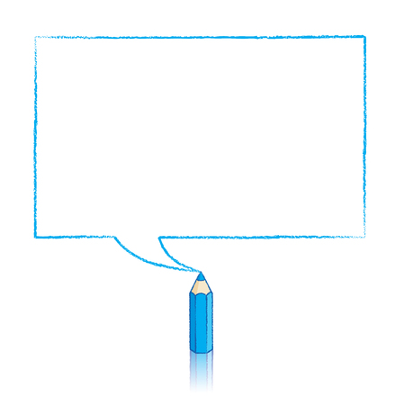 Blue Pencil with Reflection Drawing Rectangular Speech Bubble on White Background
