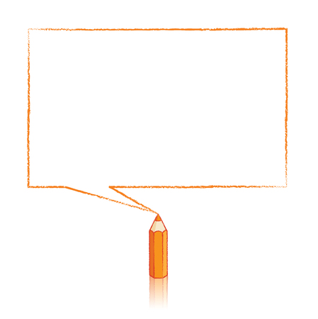 Orange Pencil with Reflection Drawing Rectangular Speech Bubble on White Background Vector