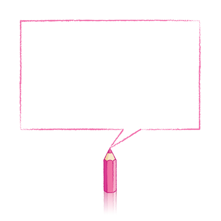 Pink Pencil with Reflection Drawing Rectangular Speech Bubble on White Background Vector