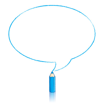Blue Pencil with Reflection Drawing Oval Speech Bubble on White Background Illustration