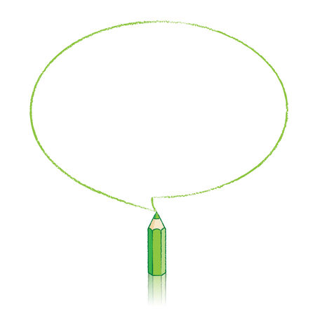 elipse: Green Pencil with Reflection Drawing Oval Speech Bubble on White Background