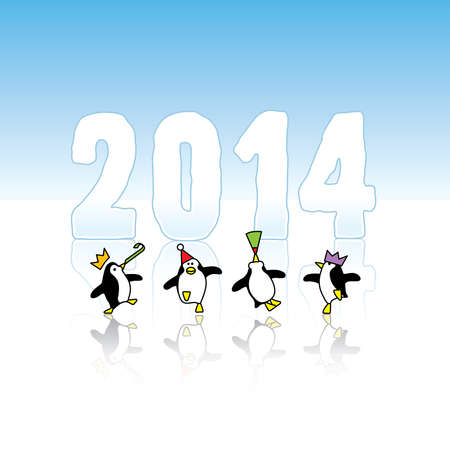 Four Happy Party Penguins Dancing in front of Year 2014 made in Ice Vector