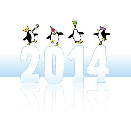 Four Happy Party Penguins Dancing on top of Year 2014 made in Ice Vector