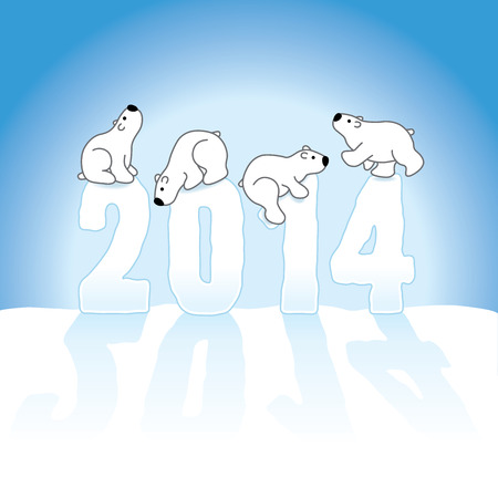 gazing: Four Cute Polar Bears Balancing on New Year 2014 numbers on an Ice Blue Cold Background