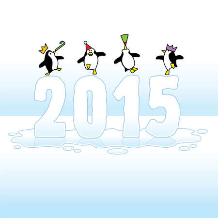 times up: Four Happy Party Penguins Dancing on top of melting Year 2015 made in Ice on Blue Horizon