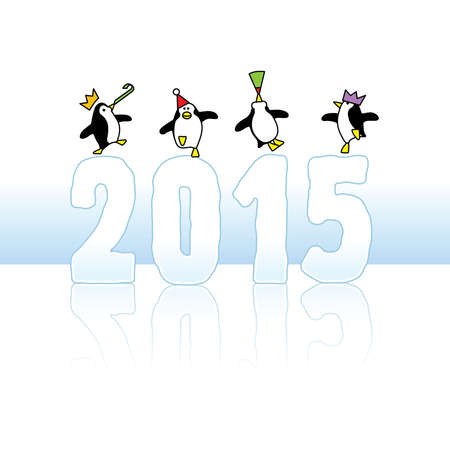 times up: Four Happy Party Penguins Dancing on top of Year 2015 made in Ice Illustration