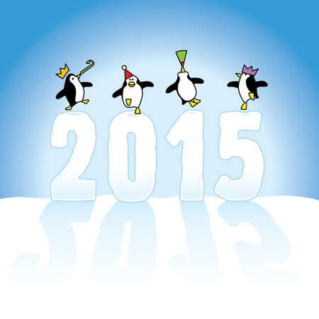 times up: Four Happy Party Penguins Dancing on top of Year 2015 made in Snow on Blue Horizon Illustration