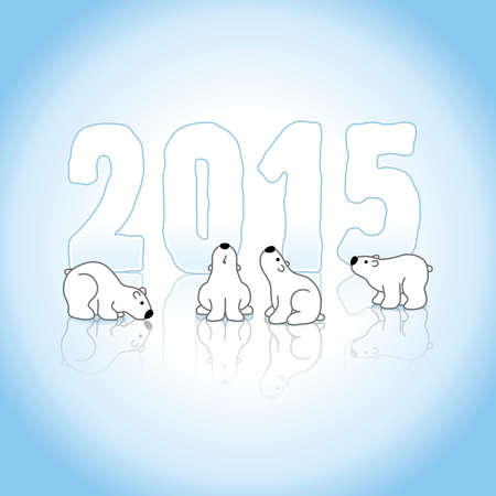 gazing: Four Cute Polar Bears and New Year 2015 with Reflections on an Ice Blue Cold Background