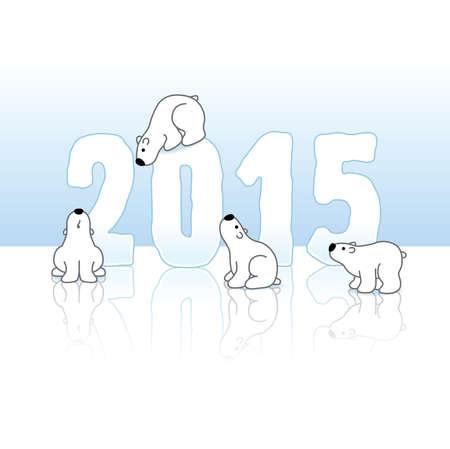 cold background: Quattro carino orsi polari e Capodanno 2015, con riflessioni su uno sfondo blu ghiaccio freddo
