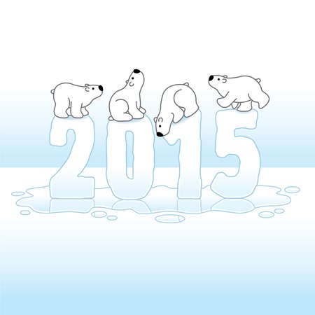 gazing: Four Cute Polar Bears Balancing on Melting New Year 2015 with Reflections in an Ice Cold Puddle Illustration