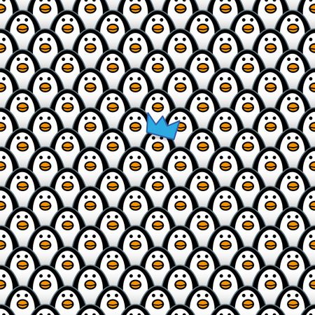 rogue: A single Penguin wearing a Blue Party Hat amongst Rows of identically repeating and forward Staring Penguins