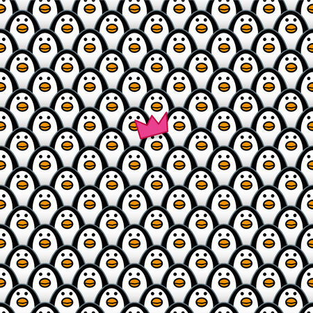 A single Penguin wearing a Pink Party Hat amongst Rows of identically repeating and forward Staring Penguins Vector