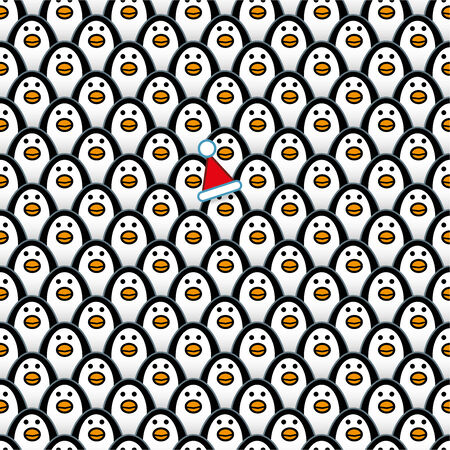 A single Penguin wearing a Red Santa Hat amongst Rows of identically repeating and forward Staring Penguins Illustration