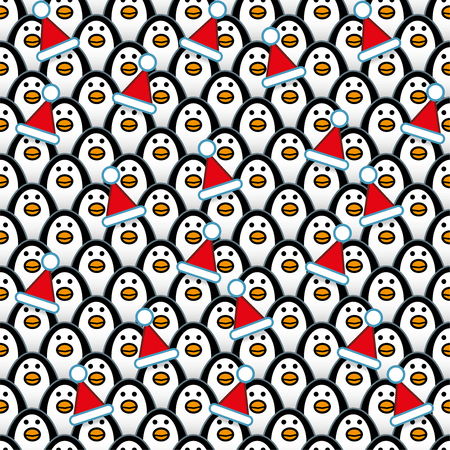 populated: Penguins wearing a Red Santa Hats amongst Rows of identically repeating and forward Staring Penguins