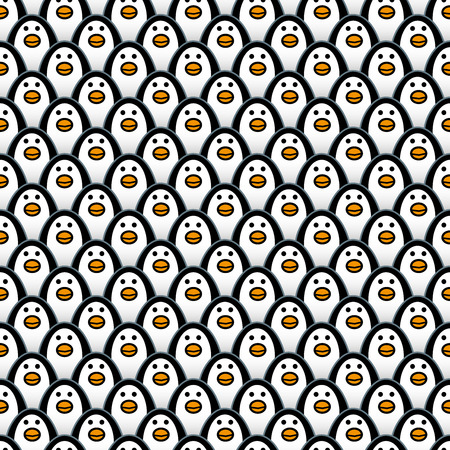 organised: Rows of Repeating and forward Staring Penguins in a background Pattern Illustration