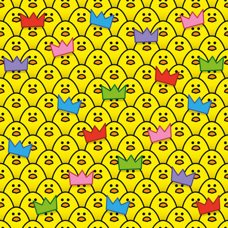 identical: Yellow Chicks wearing Paper Party Hats surrounded by other identical chicks