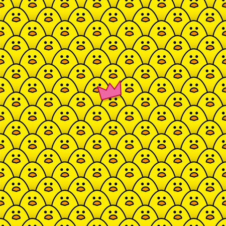 identical: Yellow Chick wearing Pink Paper Party Hat surrounded by other identical chicks