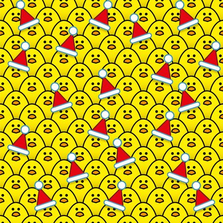 identical: Yellow Chicks wearing Red Santa Hats surrounded by other identical chicks Illustration