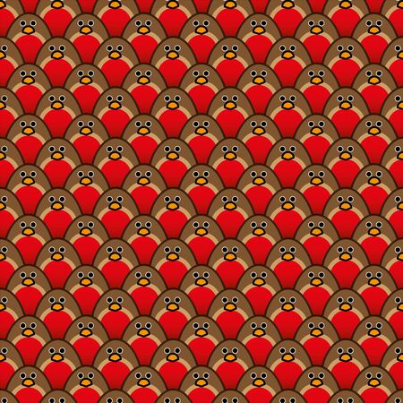 organised: Rows of Repeating and forward Staring Robin Redbreasts in a background Pattern