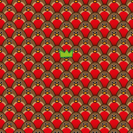 A single Robin Redbreast wearing a Green Paper Hats amongst Rows of identically repeating and forward Staring Robins Illustration