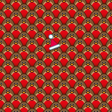 A single Robin Redbreast wearing a Red Santa Hat amongst Rows of identically repeating and forward Staring Robins Vector