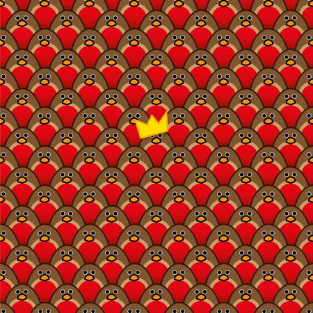 A single Robin Redbreast wearing a Yellow Paper Hats amongst Rows of identically repeating and forward Staring Robins Vector