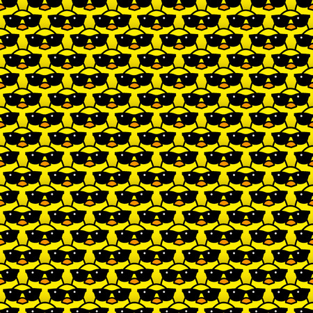 identical: Many Identical Yellow Chicks Wearing Cool Black Sunglasses Staring at camera in a Pattern