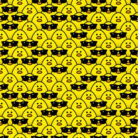 일부 무작위로 입고 멋진 검은 색 선글라스와 함께 카메라를 응시하는 많은 동일한 노란 병아리