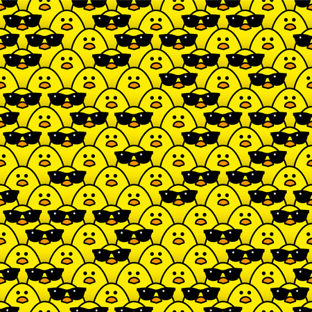 Many Identical Yellow Chicks Staring at camera with some Randomly wearing Cool Black Sunglasses