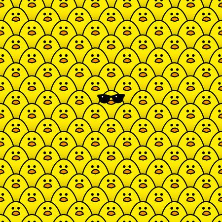 サングラスの多くと同じ黄色の雛に囲まれて黄色のひよこのクールなカメラを見つめて  イラスト・ベクター素材
