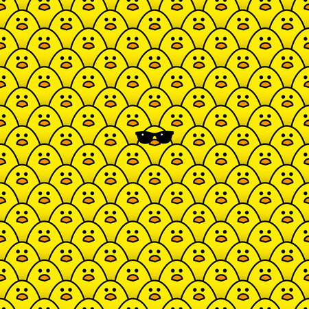 middle easter: Cool Yellow Chick wearing Sunglasses surrounded by many identical Yellow chicks Staring at camera