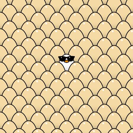 surrounded: Singolo freddo Pulcino bianco in occhiali da sole circondato da uova di Brown Identico