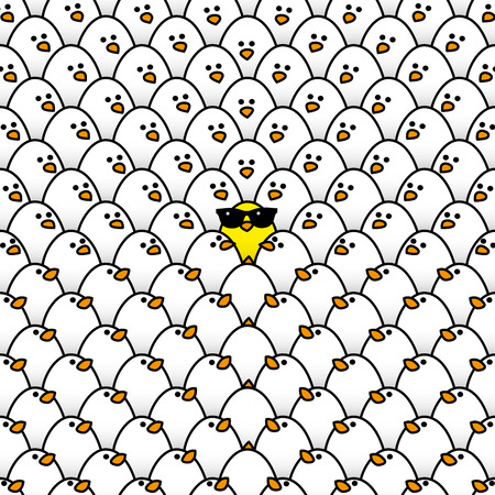 chicks: Single Yellow Chick in cool Sunglasses Surrounded by Repeating White Chicks all staring in its direction Illustration