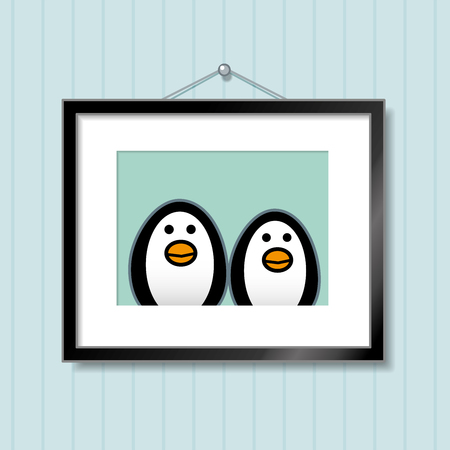 Cute Portrait of Penguin Couple in Picture Frame Hanging on Blue Wallpaper Background Vector